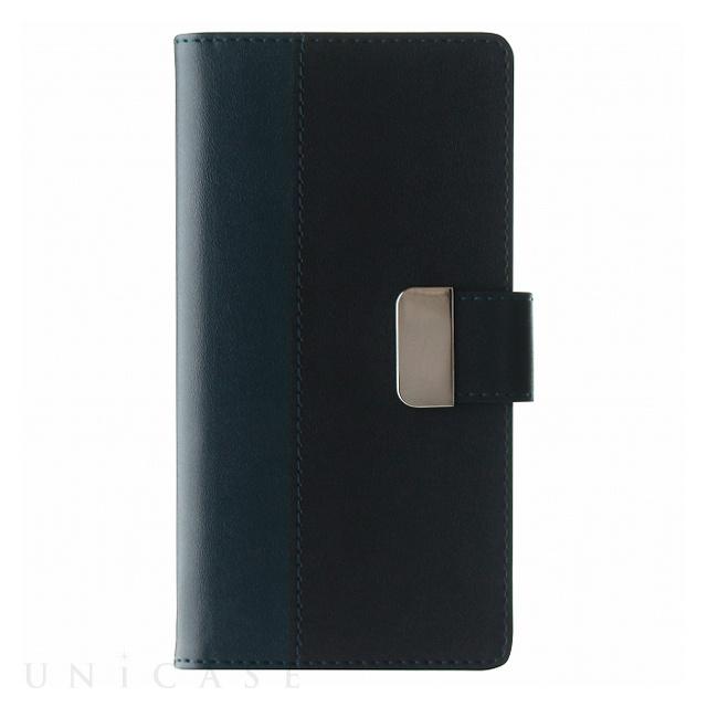 【iPhone8/7 ケース】上質PUレザーブックケース「PREMIER」 (ネイビー)