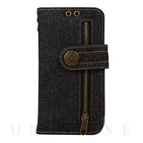 【iPhoneX ケース】Diary Case Denim (Black)
