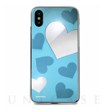 【iPhoneX ケース】Heart MIRROR CASE (ブルー)