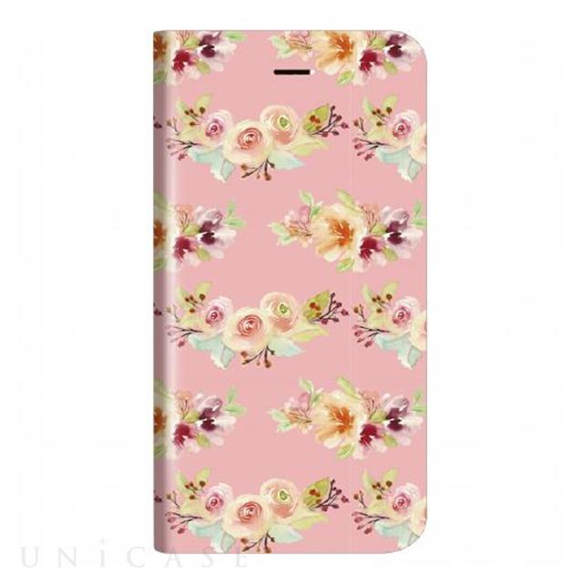 3afcb0ccfb 【iPhone8/7 ケース】薄型デザインPUレザーケース「Design+」 Flower ピンク