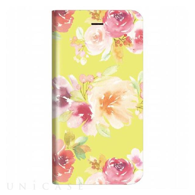 c818327634 【iPhone8/7 ケース】薄型デザインPUレザーケース「Design+」 Flower イエロー