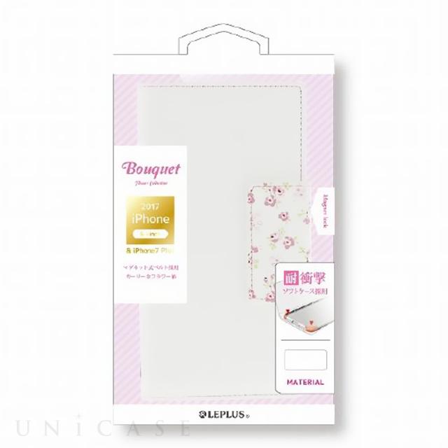 【iPhone8 Plus/7 Plus ケース】 フラワー柄ブックケース「Bouquet」 (ホワイト)