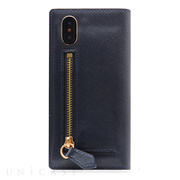 【iPhoneX ケース】Saffiano Zipper Case (ネイビー)