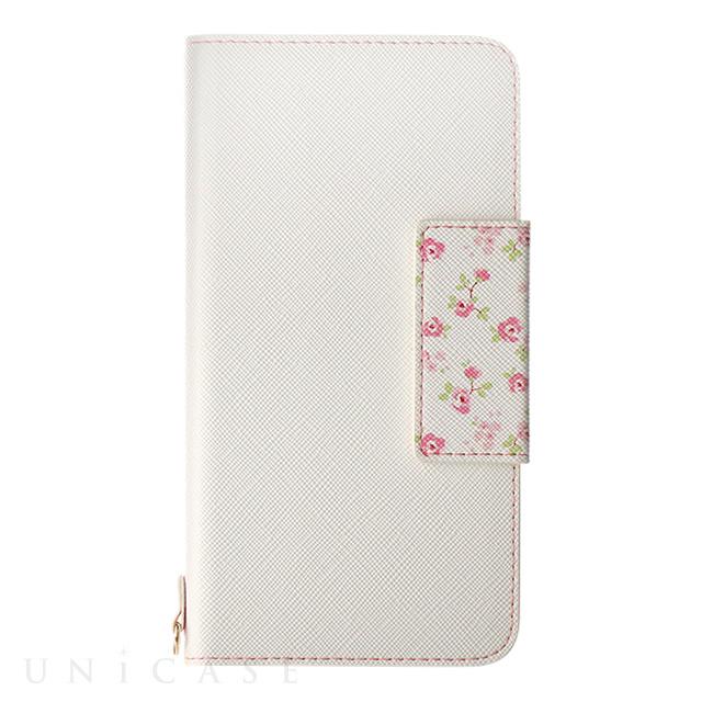 【iPhoneX ケース】フラワー柄ブックケース「Bouquet」 (ホワイト)