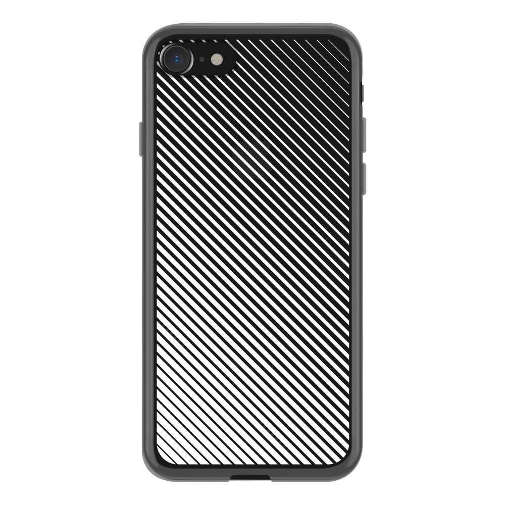 【iPhoneSE(第2世代)/8/7 ケース】MONOCHROME CASE for iPhoneSE(第2世代)/8/7 (Slash Stripe White)