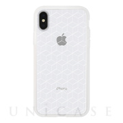 【iPhoneXS/X ケース】MONOCHROME CASE for iPhoneX (Hexagon Line White)