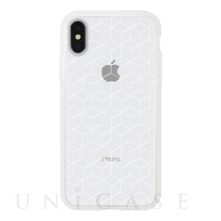 【iPhoneX ケース】MONOCHROME CASE for iPhoneX (Hexagon Line White)