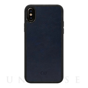 【iPhoneXS/X ケース】Vegan Leather Case (Smooth Leather Navy)