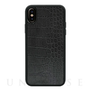 【iPhoneXS/X ケース】Vegan Leather Case (Crocodile Patent Grey)