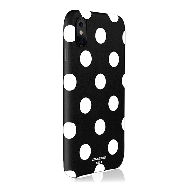 【iPhoneX ケース】Polka PU Leather Back Case (Black Polka)サブ画像