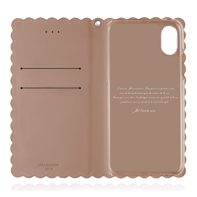 【iPhoneX ケース】Biscuit Cowhide Leather Flip case (Apricot)サブ画像