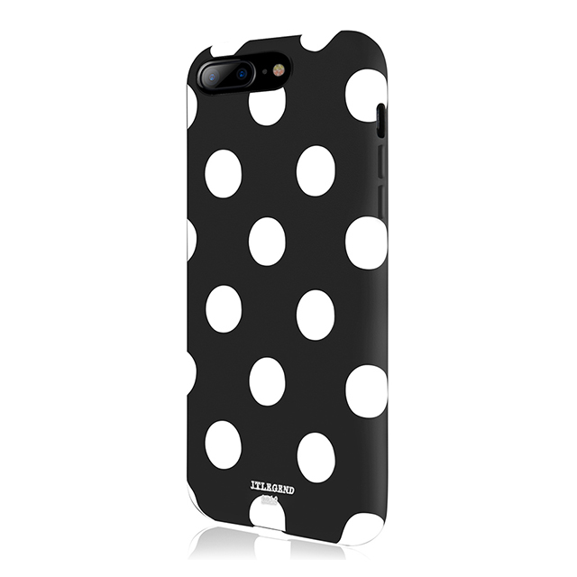 【iPhone8 Plus/7 Plus ケース】Polka PU Leather Back Case (Black Polka)サブ画像