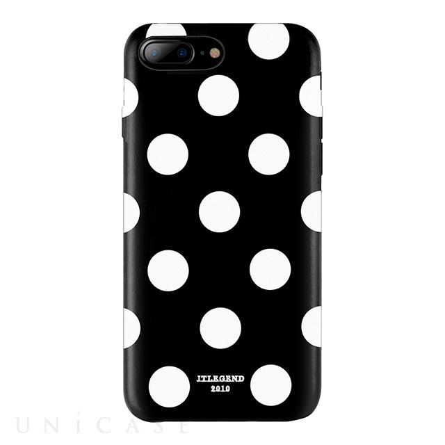 【iPhone8 Plus/7 Plus ケース】Polka PU Leather Back Case (Black Polka)