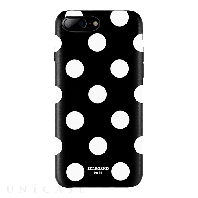 【iPhone8 Plus/7 Plus ケース】Polka PU Leather Back Case (Black Polka)