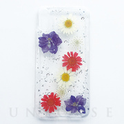 【iPhoneXS/X ケース】押し花入りiPhoneケース (Silver hoil flowers)