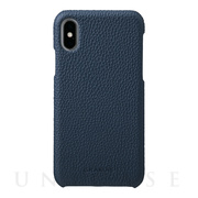 【iPhoneX ケース】Shrunken-calf Shell Leather Case (Navy)