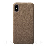 【iPhoneX ケース】Shrunken-calf Shell Leather Case (Taupe)