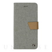 【iPhone8 Plus/7 Plus ケース】Linen flip case (Grey)