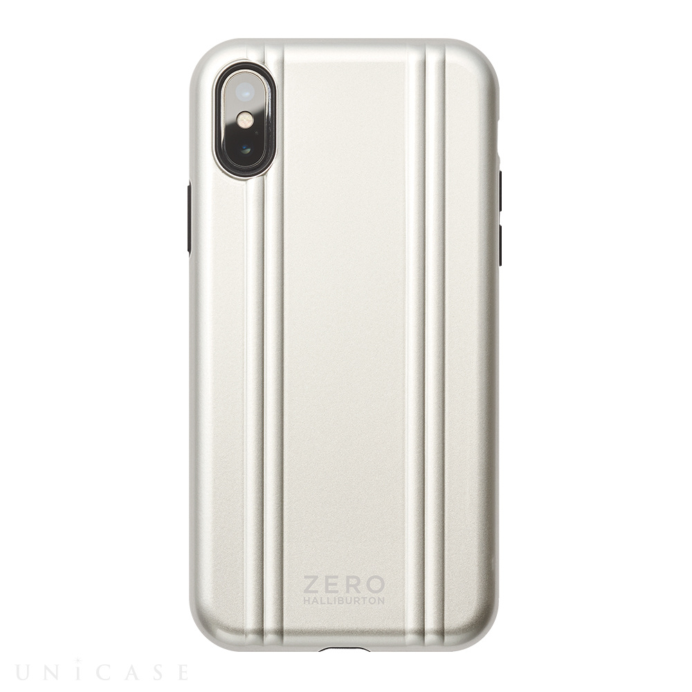 【iPhoneXS ケース】ZERO HALLIBURTON Hybrid Shockproof case for iPhoneXS (Silver)