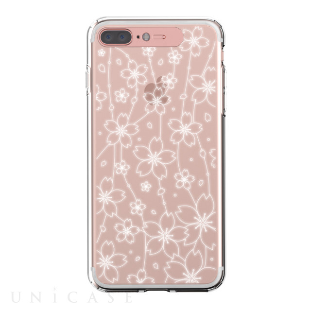 【iPhone8 Plus/7 Plus ケース】Soft Lighting Clear Case Flower (ローズゴールド)