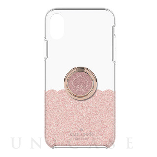 【iPhoneXR ケース】BUNDLE -ROSE GOLD scallop rose gold glitter/clear/spade rose gold ring