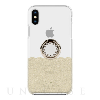 kate spade new york(ケイト・スペード ニューヨーク) 【iPhoneXS/X ケース】BUNDLE -GOLD SCALLOP scallop gold glitter/clear/cream scallop gold ring