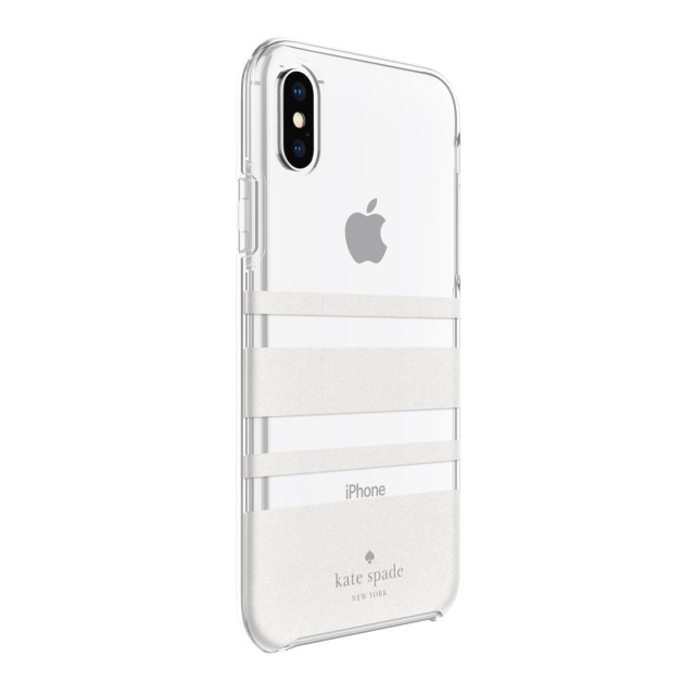 【iPhoneXS/X ケース】Protective Hardshell -CHARLOTTE STRIPE white glitter/clear