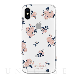 【iPhoneXS/X ケース】Protective Hardshell -HAPPY ROSE navy/pink /crystal gems/rose gold/gold/clear