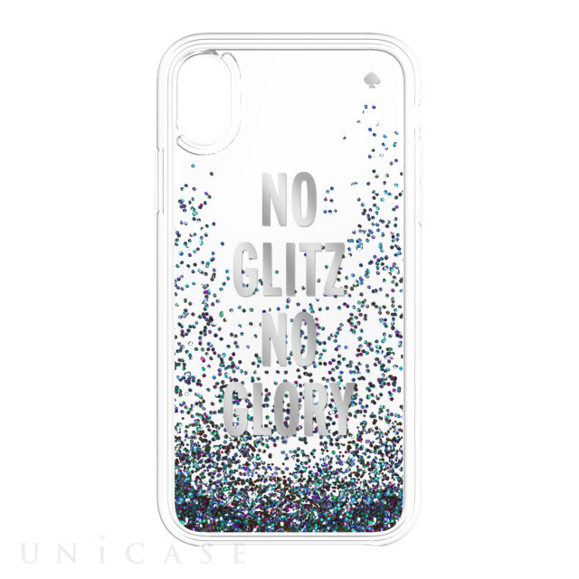 【iPhoneXR ケース】Liquid Glitter -NO GLITZ NO GLORY silver foil/mermaid glitter/clear