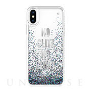 【iPhoneXS/X ケース】Liquid Glitter -NO GLITZ NO GLORY silver foil/mermaid glitter/clear