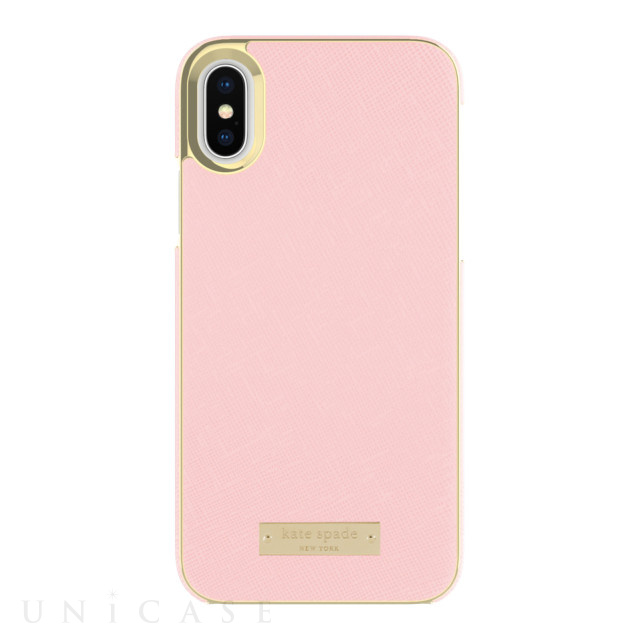 【iPhoneXS/X ケース】INLAY WRAP -SAFFIANO rose quartz