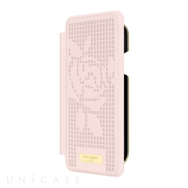 4297344363a5 iPhoneXR ケース】INLAY WRAP FOLIO -ROSE PERF rose quartz kate spade ...