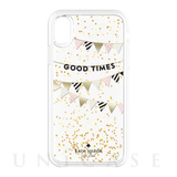 【iPhoneXR ケース】Liquid Glitter -GOOD TIMES gold foil/cream/black/gold glitter/clear