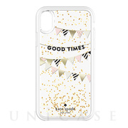 【iPhoneXS/X ケース】Liquid Glitter -GOOD TIMES gold foil/cream/black/gold glitter/clear