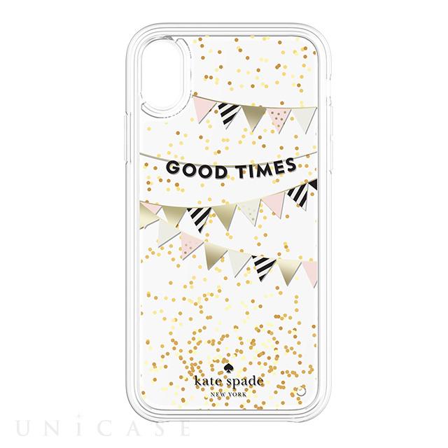 dda5a60260b6 ... 【iPhoneXS/X ケース】Liquid Glitter -GOOD TIMES gold foil/cream/ ...