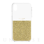 【iPhoneXR ケース】HALF CLEAR CRYSTAL -GOLD/gold foil/clear