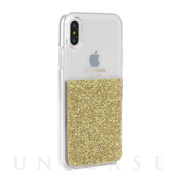 【iPhoneXS/X ケース】HALF CLEAR CRYSTAL -GOLD/gold foil/clear