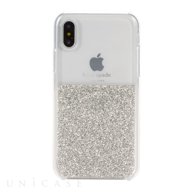 【iPhoneXS/X ケース】HALF CLEAR CRYSTAL -SILVER/silver foil/clear