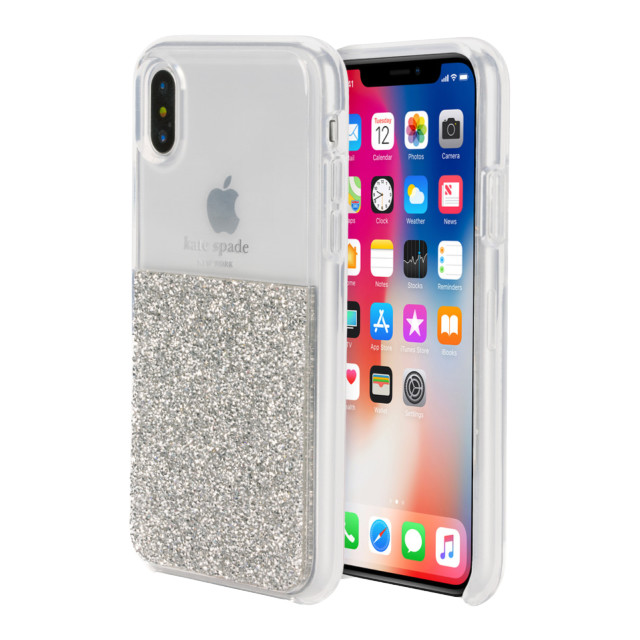 【iPhoneXS/X ケース】HALF CLEAR CRYSTAL -SILVER/silver foil/clearサブ画像