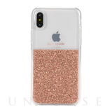 【iPhoneXS/X ケース】HALF CLEAR CRYSTAL -ROSE GOLD/rose gold foil/clear