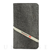 【iPhoneXR ケース】2-IN-1 FOLIO CASE (Grey Denim Diagonal Logo)