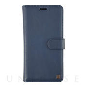 【iPhoneXR ケース】PROTECTIVE GENUINE LEATHER FOLIO with HARD SHELL (NAVY)