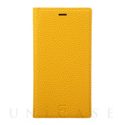 【iPhoneXR ケース】Shrunken-Calf Leather Book Case (Yellow)