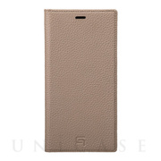 【iPhoneXS Max ケース】Shrunken-Calf Leather Book Case (Taupe)