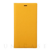 【iPhoneXS Max ケース】Shrunken-Calf Leather Book Case (Yellow)