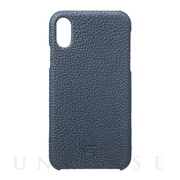 【iPhoneXR ケース】Shrunken-Calf Leather Shell Case (Navy)