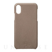 【iPhoneXS/X ケース】Shrunken-Calf Leather Shell Case (Taupe)