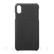 【iPhoneXS Max ケース】Shrunken-Calf Leather Shell Case (Black)