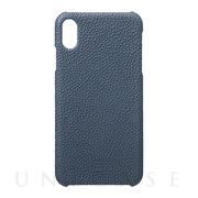 【iPhoneXS Max ケース】Shrunken-Calf Leather Shell Case (Navy)