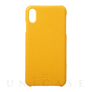 【iPhoneXS Max ケース】Shrunken-Calf Leather Shell Case (Yellow)
